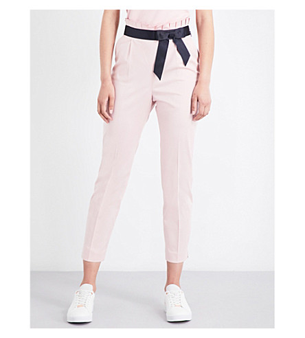 TED BAKER Ruffled-waist high-rise cropped stretch-cotton pants (Dusky+pink