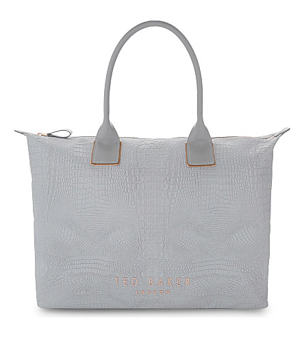TED BAKER Crocodile-embossed tote (Light+grey