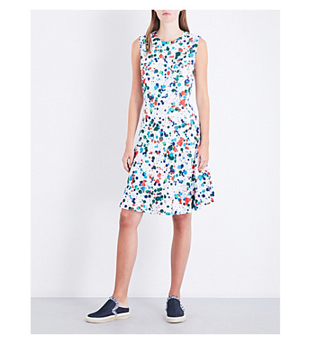 TED BAKER Paint splatter-print twill dress (Ivory