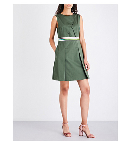 TED BAKER Stripe-detail stretch-cotton dress (Khaki