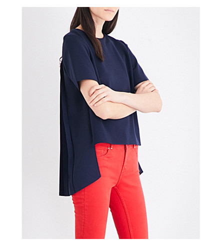 TED BAKER Colour By Numbers Naevaa jersey and crepe top (Navy
