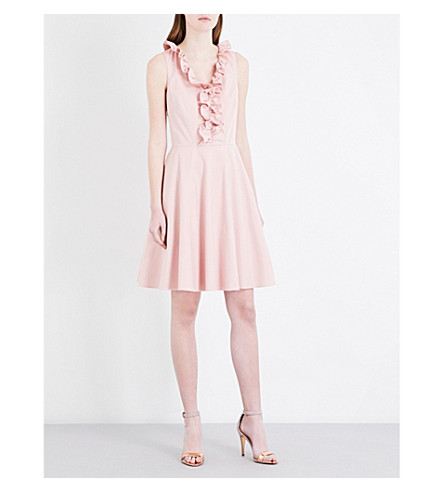 TED BAKER Ruffed-trim fit-and-flare cotton-blend dress (Dusky+pink