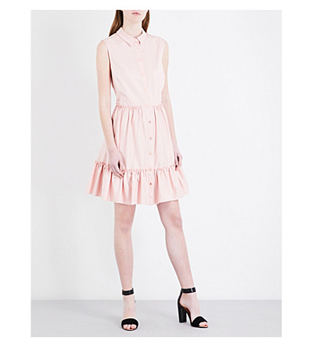 TED BAKER Sleeveless fit-and-flare cotton-blend dress (Dusky+pink