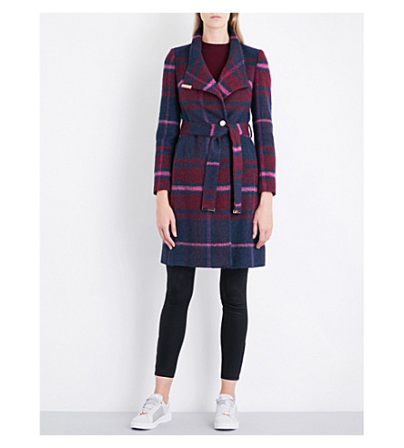 TED BAKER Check felt wrap coat (Maroon