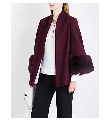 TED BAKER Rilly faux-fur cuffs wool-blend coat (Maroon