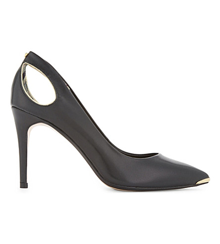 TED BAKER Jesamin cut-out suede courts (Black