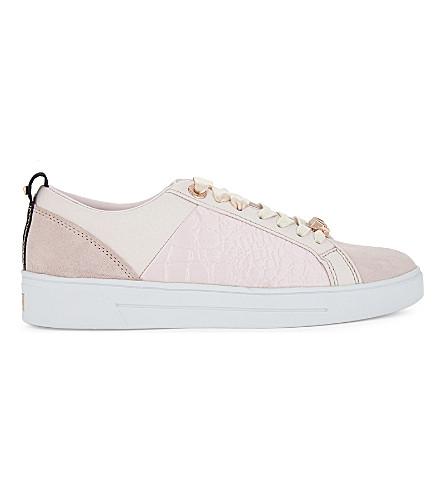TED BAKER Kulei 对比装饰皮革运动鞋 (轻 + 粉红色