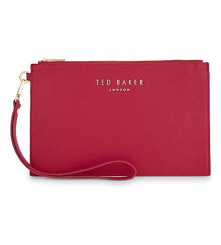 TED BAKER Emerey leather wristlet pouch (Fuchsia