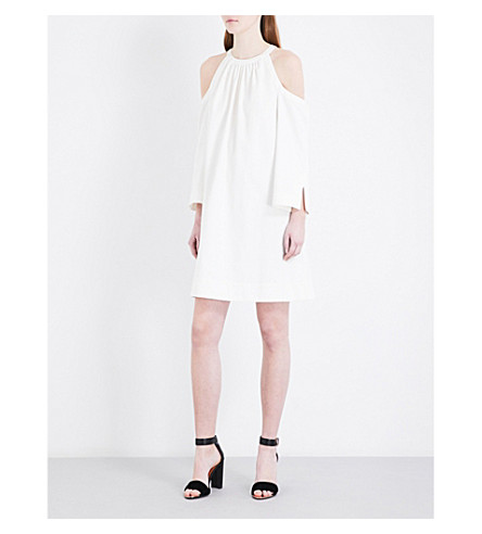 TED BAKER Cold-shoulder cotton-blend dress (White
