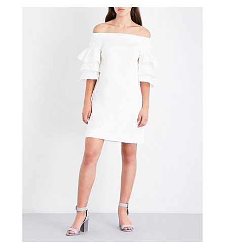 TED BAKER Husher frilled stretch-cotton dress (White