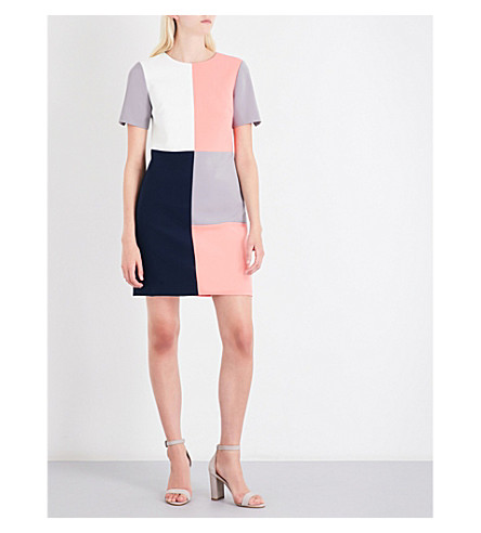 TED BAKER Ardell colourblock woven shift dress (Ivory