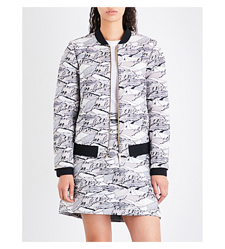 TED BAKER Landscape-jacquard bomber jacket (Light+grey