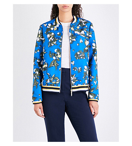 TED BAKER Floral-print twill bomber jacket (Dark+blue