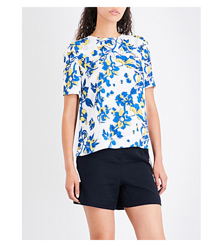 TED BAKER Floral-print pleated-back crepe top (Ivory