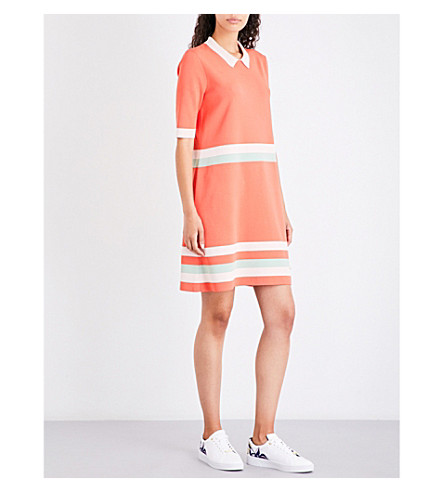 TED BAKER Stripe-trimmed knitted dress (Coral