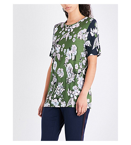 TED BAKER Floral-print jersey T-shirt (Green