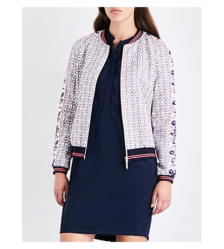 TED BAKER Xaria geo floral-print twill bomber jacket (Grey
