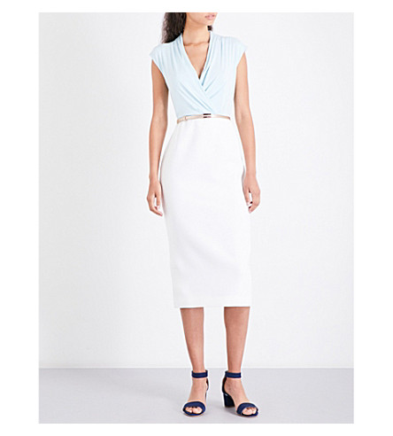 TED BAKER Alfena jersey and crepe dress (Pale+blue