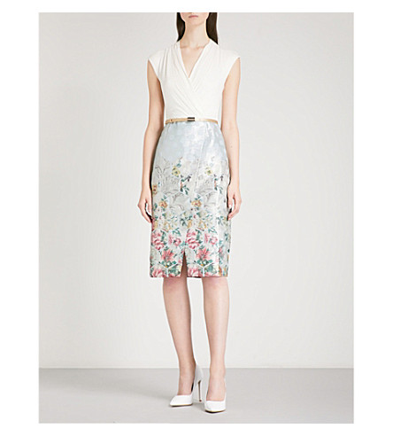 TED BAKER Macal jersey and metallic-jacquard dress (Pale+blue