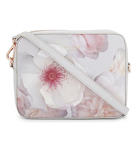 TED BAKER Floral faux-leather cross-body bag (Light+grey
