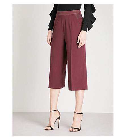 TED BAKER Oderat wide-leg crepe culottes (Maroon