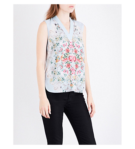 TED BAKER Patchwork dropped-hem crepe top (Pale+blue