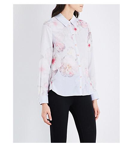 TED BAKER Chelsea floral-print chiffon shirt (Mid+grey