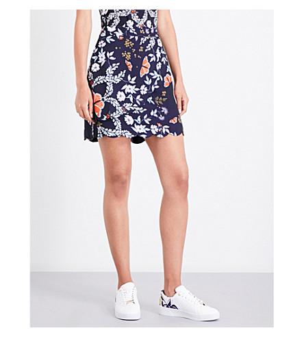 TED BAKER Herper floral-print skirt (Navy