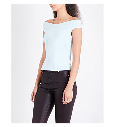 TED BAKER Bardot jersey top (Pale+blue