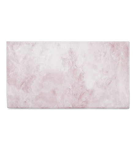 TED BAKER Maybell quartz effect foldover travel wallet (Nude+pink