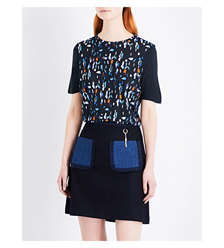 TED BAKER Colour by Numbers Eudon lamp-print T-shirt (Navy