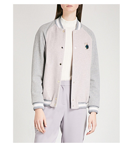 TED BAKER Colour by Numbers Augusta twill bomber jacket (Dusky+pink
