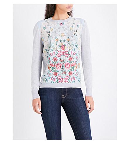 TED BAKER Yasmyn patchwork-print jumper (Pale+blue