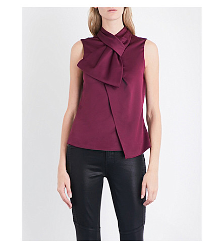 TED BAKER Twisted bow sleeveless satin top (Maroon