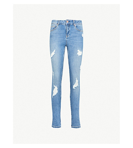 TED BAKER Kimle distressed skinny mid-rise jeans (Mid+blue