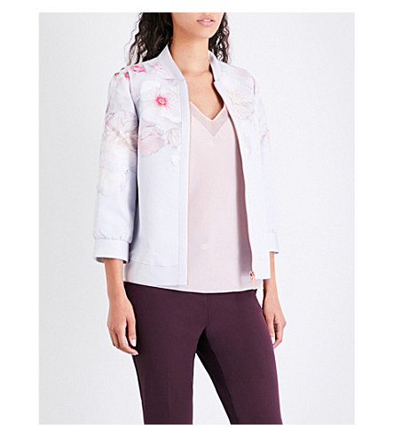 TED BAKER Dawnar Chelsea floral satin bomber jacket (Light+grey