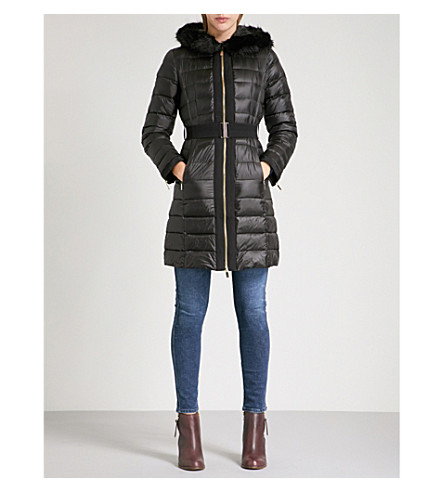 TED BAKER Faux-fur collar quilted down and feather-blend coat (Black