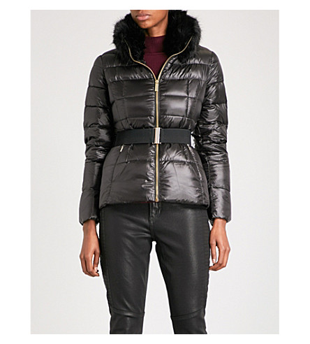 TED BAKER Junnie faux-fur collar quilted down and feather-blend jacket (Black