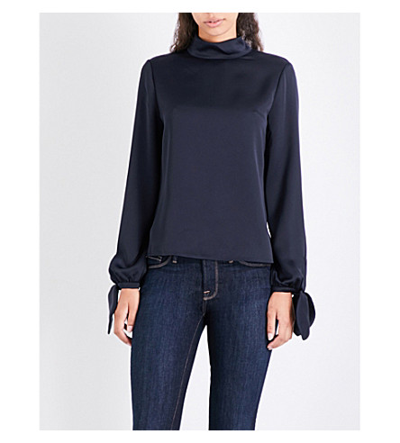 TED BAKER Belare high-neck crepe blouse (Navy