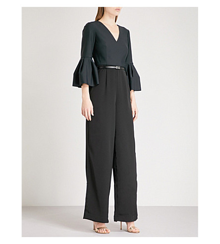 TED BAKER Theah V-neck satin-cady jumpsuit (Black