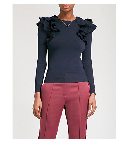 TED BAKER Brosl ruffle-trimmed knitted jumper (Navy