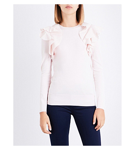 TED BAKER Brosl frill-detail knitted jumper (Nude+pink