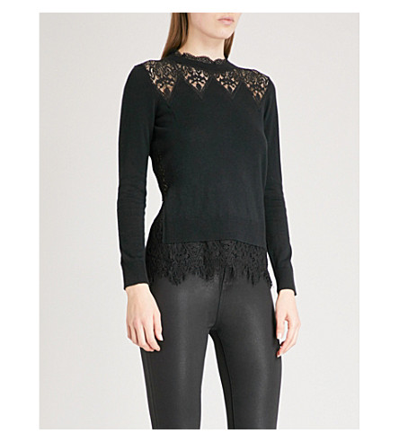 TED BAKER Aarun lace-detail knitted jumper (Black