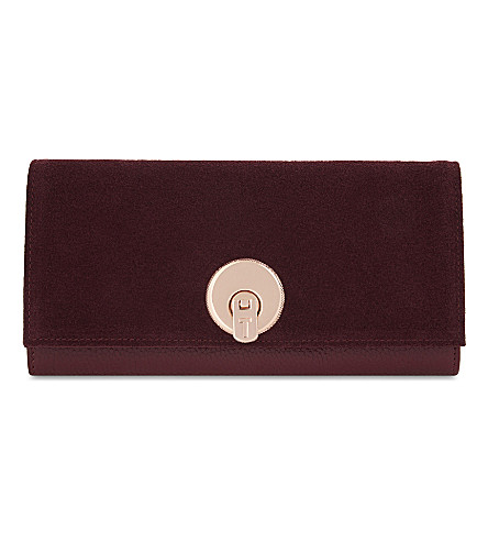 TED BAKER Noelia leather and suede matinee purse (Oxblood