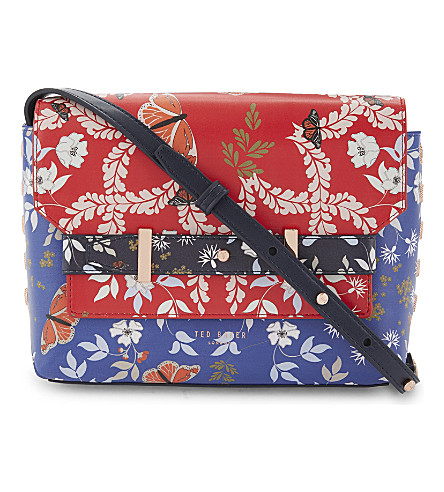 TED BAKER Gilda Kyoto Gardens faux-leather cross-body bag (Bright+blue