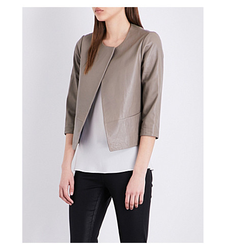 TED BAKER Open-front leather jacket (Light+grey