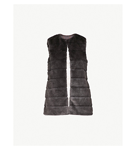 TED BAKER Fiorela faux-fur gilet (Light+grey