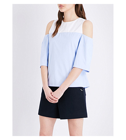 TED BAKER Colour By Number cold-shoulder cotton top (Mid+blue