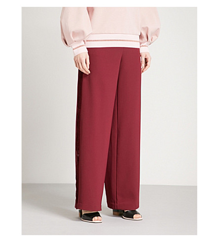 TED BAKER Colour By Numbers Gabtay velvet-trimmed jersey jogging bottoms (Grape