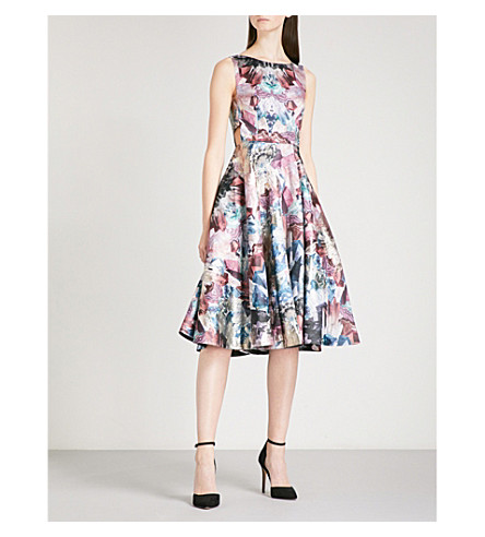 TED BAKER Louwisa cutout-detail metallic jacquard dress (Mid+grey